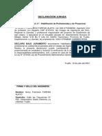 DECLARACION JURADA ARQUITECTO O INGCIVIL.