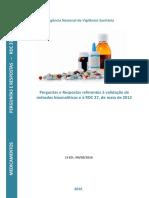 Perguntas e Respostas referentes à validação de métodos analíticos e à RDC 27 de 2012