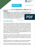 Alerta epidemiológica por riesgo de circulación de variante Delta en la Argentina