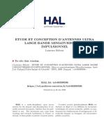ETUDE ET CONCEPTION D ANTENNES ULTRA LARGE BANDE MINIATURISEES EN IMPULSIONNEL