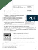 Ficha de avaliação de Ciências Naturais do 7ºAno - HistTerra, Estrutura interna, Deriva e Tectónica Placas