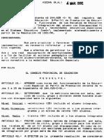 Resolución 364-92 Matrícula Máxima secciones alumnos con discapacidad