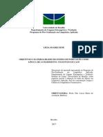 Objetivos e Materialidades Do Ensino de Português Como Língua de Acolhimento- Um Estudo de Caso