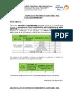 CERTIFICADO DE INSPECCION HIGIENICO SANITARIO DEL ESTABLO