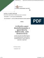 A direita quer desinformação e ignorância fabricada, não democracia - Carta Maior