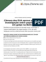 Opera Mundi Câmara dos EUA aprova pedido de investigação sobre papel da OEA em golpe na Bolívia