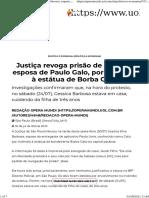 Opera Mundi Justiça revoga prisão de Gessica, esposa de Paulo Galo, por incêndio à estátua de Borba Gato