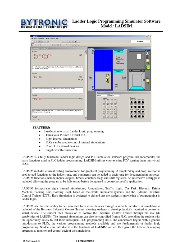 Ladder Logic Diagram Traffic Light Wiring Library A Ladsim Ds091 Programmable Controller Simulation