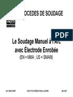 LE SOUDAGE A L'ARC MANUEL AVEC ELECTRODE ENROBEE