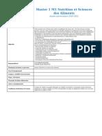 M1 Nutrition Et Sciences Des Aliments