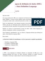 UNID 2.1 - Linguagem de definição de dados (DDL) – Data Definition Language