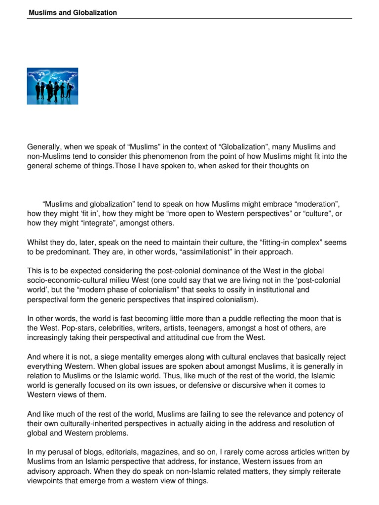 Muslims and Globalization  | Western World | Globalization