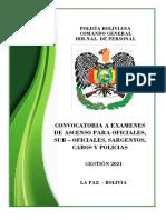 Convocatoria a Examenes de Ascenso Para Oficiales, Suboficiales, Sargentos, Cabos y Policias 2021