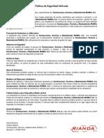 Politica vehicular RIANDACA Rev 00