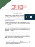 Normas para publicação nos anais - IX EPHIS