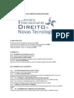 Programação do I Seminário Internacional sobre Direito e Novas Tecnologias