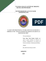 La Ejecución Presupuestal y Su Relación en El Manejo de La Epidemia Covid - 19 Bajo El Decreto de Urgencia 051-2020 en Las Regiones Del Perú
