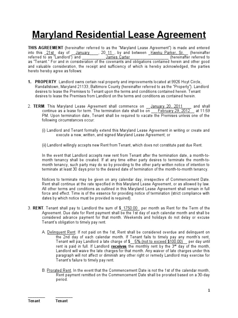 Maryland Residential Lease Agreement