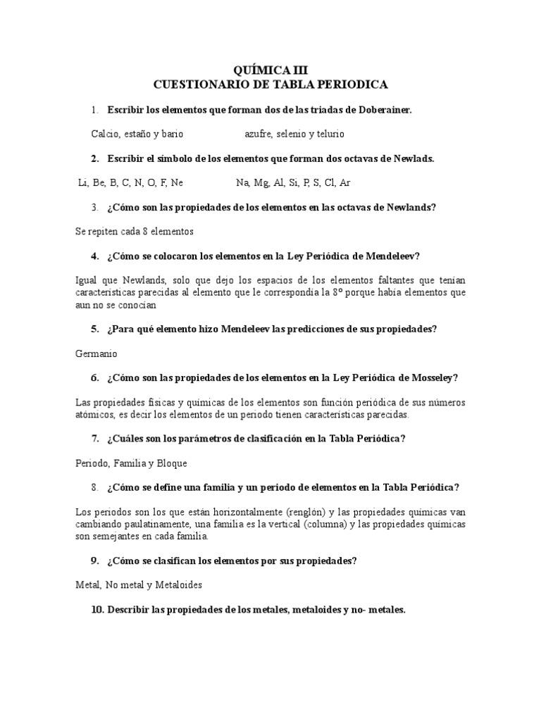 Cuestionario de tabla periodica urtaz Gallery