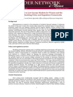 Access to Insurance in Low Income Markets for Women and the Poor – the Role of Enabling Policy and Regulatory Frameworks