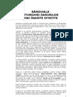LITURGHIA DARURILOR MAI +ÄNAINTE SFIN+ÜITE