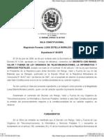 DECRETO CON RANGO, VALOR Y FUERZA DE LEY ORGÁNICA DE TELECOMUNICACIONES,SALA CONSTITUCIONAL,Expediente N° 08-0975  El 29 de julio de 2008,Decreto N° 6 244, 1257-310708-08-0975