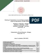 Bando di ammissione Medicina e Chirurgia e Odontoiatria e Prtotesi Dentaria A.a. 21 - 22