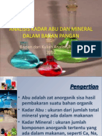 ANALISIS KADAR ABU DAN MINERAL DALAM BAHAN PANGAN