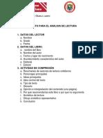 FORMATO PARA EL ANÁLISIS DE LECTURA