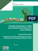 Informe subregional sobre uso de Drogas en población escolarizada