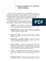 area artisica artes plasticas criterios de avaliação