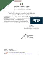 Avviso Immissioni in Ruolo a.s. 2021-2022 - Pubblicazione Abbinamenti Candidati - Sede