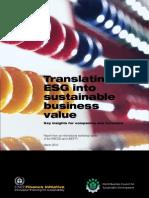 Translating ESG into sustainable business value - UNEPFI -2010