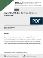 ley 26075 financiamiento educativo Nacional