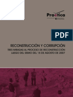 Reconstrucción y corrupción. Tres miradas al proceso de reconstrucción luego del sismo del 15 de agosto de 2007