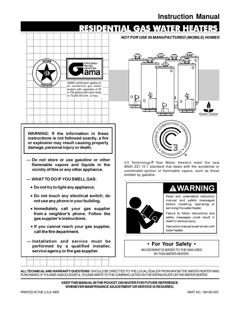 Water Heater Manual Heating Chimney Ao Smith Hse Sas 10 Electric