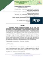 COMPORTAMENTO DO CONSUMIDOR CONSUMER BEHAVIOR. Daiane Rafaela de Souza Garcia- Graduando em Administração-