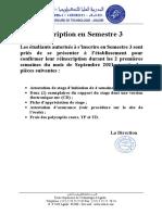 Avis Réinscription S3 2021-2022