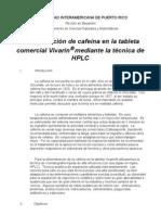 Determinación de cafeína en la tableta comercial porHPLC