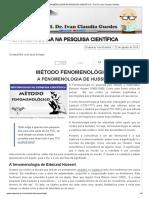 FENOMENOLOGIA NA PESQUISA CIENTÍFICA - Prof. Dr. Ivan Claudio Guedes