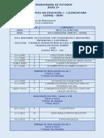 Cronograma - Fundamentos da Educação I 2020 2