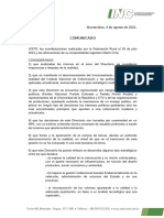 Comunicado Directorio Del INC 04-08-21