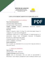 LISTA DOS MEDICAMENTOS PADRONIZADOS