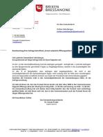 Beantwortung Ihrer Anfrage betreffend _Erneut reduzierte Öffnungszeiten im Postamt Brixen_