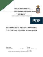 INFLUENCIA DE LA PRESIÓN ATMOSFÉRICA Y LA TEMPERATURA EN LA SUSTENTACIÓN