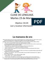 CLASE DE LENGUAJEmartes 23 de marzo