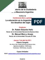 """Conferencia en Gran Logia sobre educación """" Hallu - Mora y Araujo"""" 07 ABRIL 2011"""