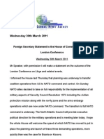 UK Foreign Secretary Statement to the House of Commons on Libya