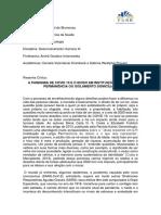 PSICOLOGIA DO DESENVOLVIMENTO III - RESENHA CRÍTICA - DANIELA E SABRINA