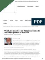 Os atuais desafios da Responsabilidade Social Empresarial no Brasil - Responsabilidade Social
